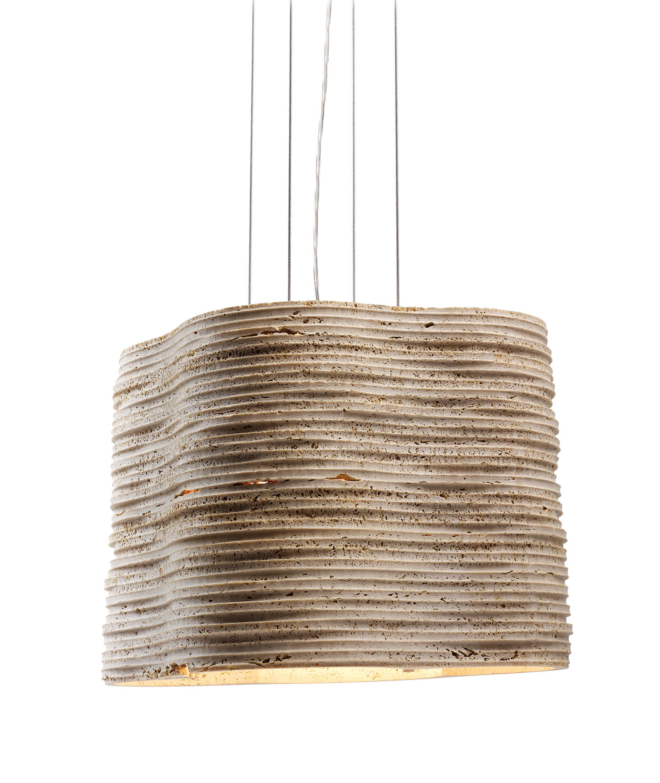 Lampe Strato Groß aus Travertin