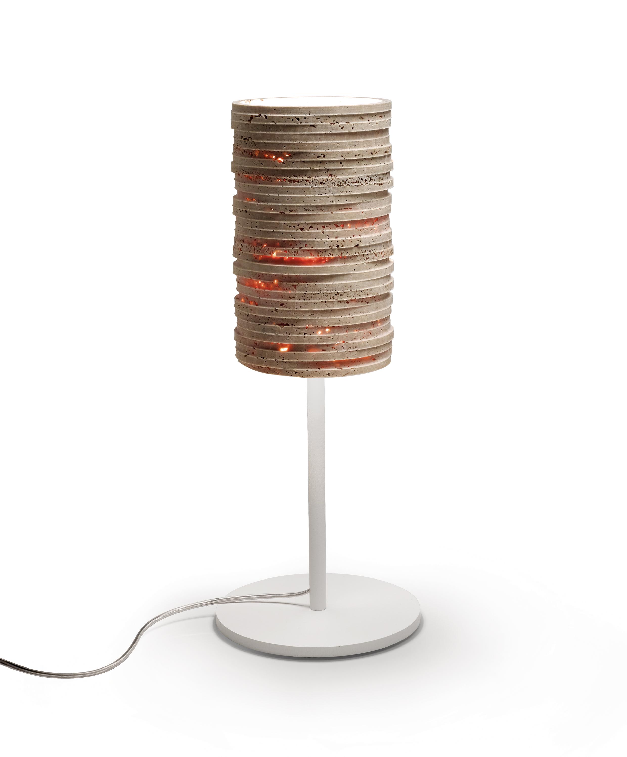 Lampe Strato Stehlampe aus Travertin